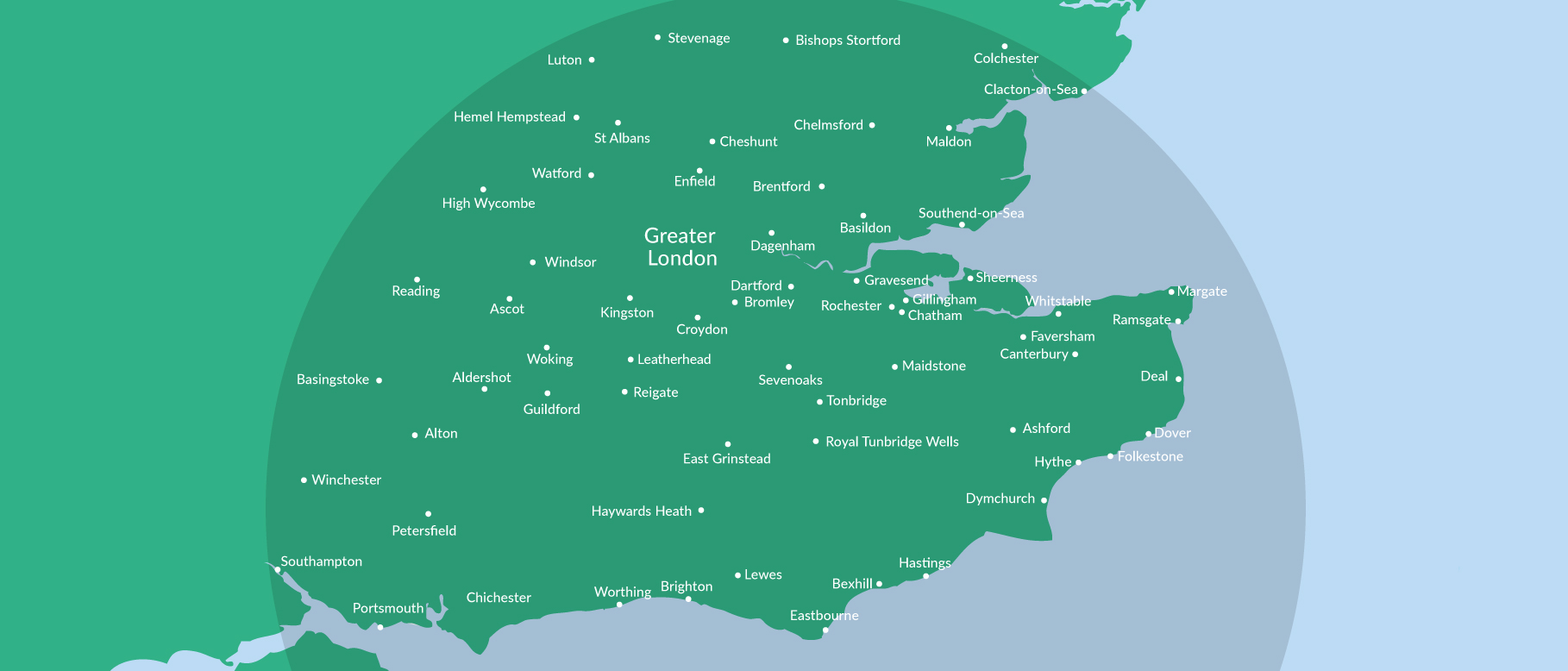 map of areas fleetteq services (Kent)